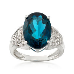 6.75 Carat London Blue Topaz and .23 ct. t.w. Diamond Ring in 14kt White Gold, , default