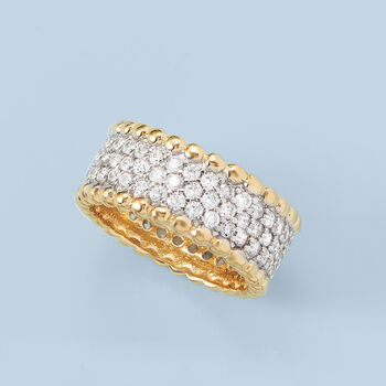 1.95 ct. t.w. CZ Beaded Ring in Two-Tone Sterling Silver