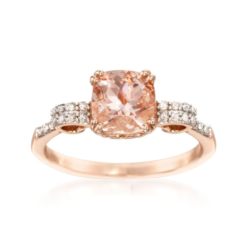 1 40 Carat Morganite And 10 Ct T W Diamond Ring In 14kt Rose Gold Over