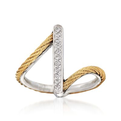 "ALOR ""Classique"" Yellow Cable Bar Ring With Diamond Accents and 18kt White Gold, , default"