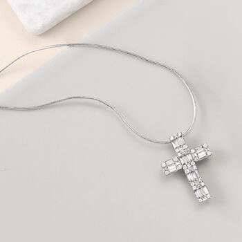 .56 ct. t.w. Round and Baguette Diamond Cross Pendant in 14kt White Gold, , default