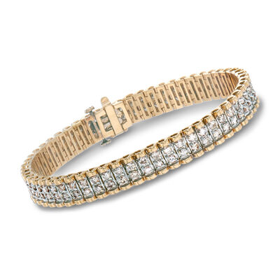 C. 1990 Vintage 5.60 ct. t.w. Diamond Double-Row Bracelet in 14kt Yellow Gold, , default