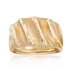 Italian 18kt Yellow Gold Multi-Finish Ring. Size 5, , default