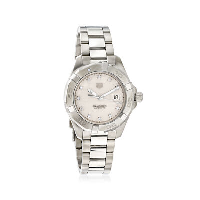 TAG Heuer Aquaracer Women's 32mm Automatic Stainless Steel Watch with Diamonds - Mother-Of-Pearl Dial, , default