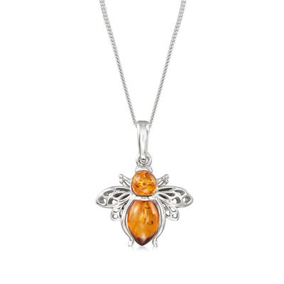 Amber Bumble Bee Pendant Necklace in Sterling Silver