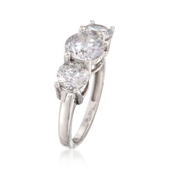 3.00 ct. t.w. CZ Three-Stone Ring in 14kt White Gold, , default