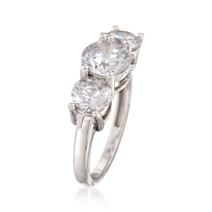 3.00 ct. t.w. CZ Three-Stone Ring in 14kt White Gold