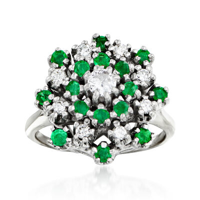 C. 1970 Vintage .80 ct. t.w. Emerald and .45 ct. t.w. Diamond Cluster Ring in 14kt White Gold, , default