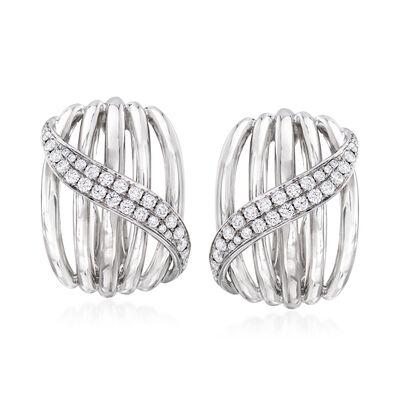 .80 ct. t.w. Diamond Multi-Row Sash Earrings in 14kt White Gold