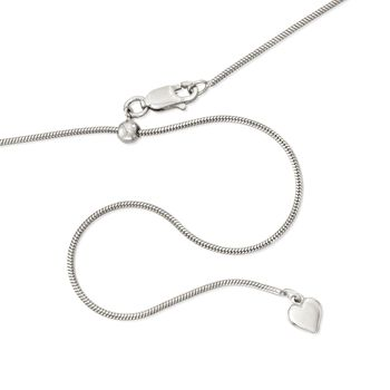 Italian 1mm Sterling Silver Adjustable Slider Square Snake Chain Necklace