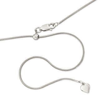 Italian 1mm Sterling Silver Adjustable Slider Square Snake Chain Necklace , , default