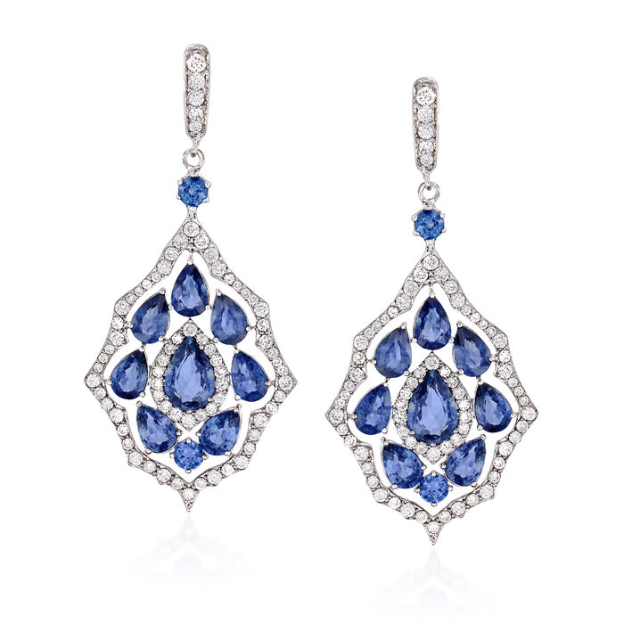10.40 ct. t.w. Sapphire and 1.90 ct. t.w. Diamond Drop Earrings in 18kt White Gold, , default