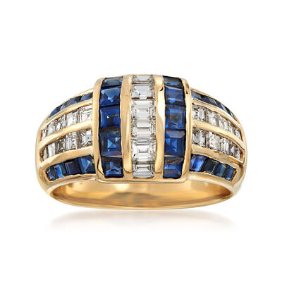 C. 1990 Vintage 2.27 ct. t.w. Sapphire and 1.30 ct. t.w. Diamond Ring in 18kt Yellow Gold, , default