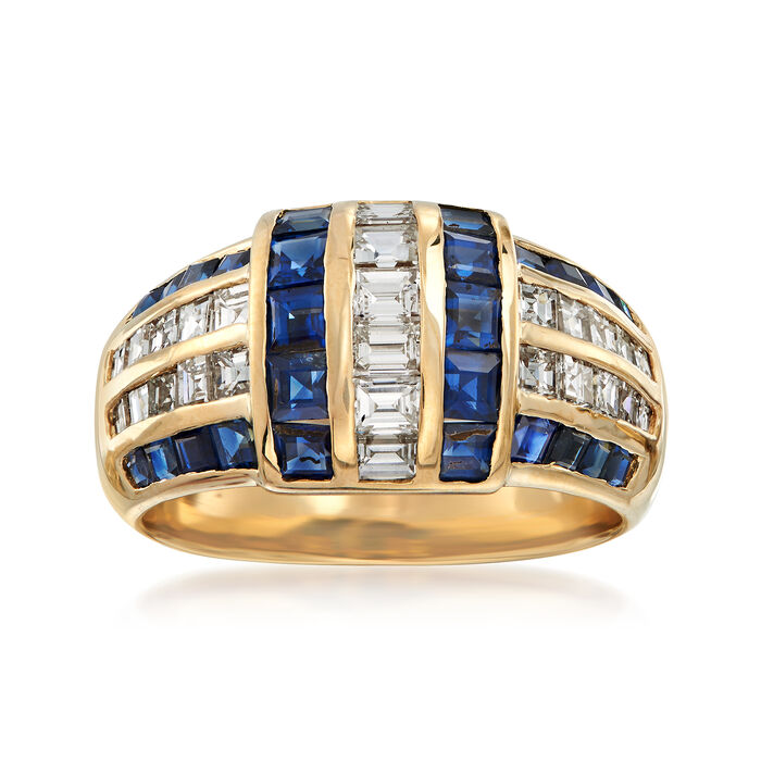 C. 1990 Vintage 2.27 ct. t.w. Sapphire and 1.30 ct. t.w. Diamond Ring in 18kt Yellow Gold. Size 8