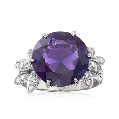 C. 1970 Vintage 7.40 Carat Amethyst and .30 ct. t.w. Diamond Ring in 18kt White Gold