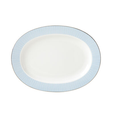 "Kate Spade New York ""Laurel Street"" Blue and White Ceramic Oval Serving Platter, , default"