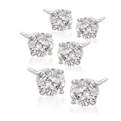 6.00 ct. t.w. CZ Jewelry Set: Three Pairs of Stud Earrings in 14kt White Gold, , default