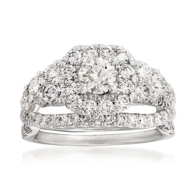 2.00 ct. t.w. Diamond Bridal Set: Engagement and Wedding Rings in 14kt White Gold