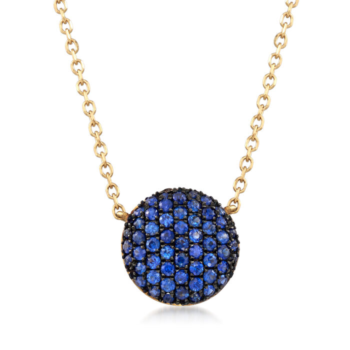 ".50 ct. t.w. Sapphire Circle Pendant Necklace in 14kt Yellow Gold. 16"", , default"