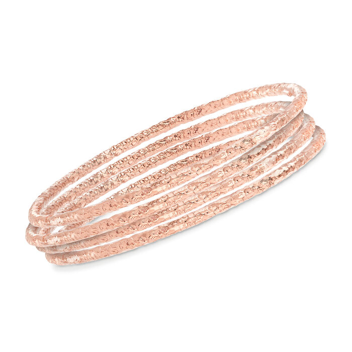 Italian 22kt Rose Gold Over Sterling Jewelry Set: Four Textured Bangle Bracelets