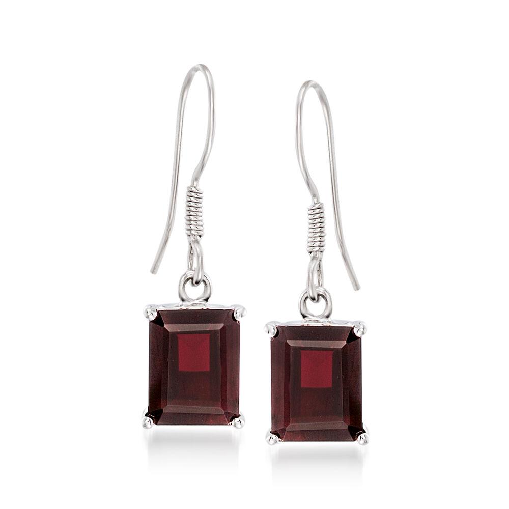 T W Emerald Cut Garnet Drop Earrings In Sterling Silver Default