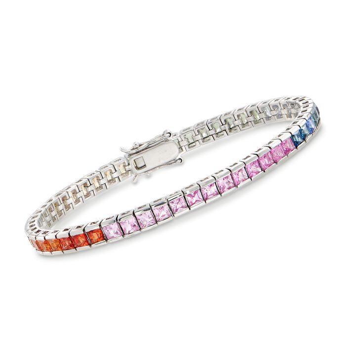 "9.75 ct. t.w. Multicolored Sapphire Tennis Bracelet in Sterling Silver. 7"", , default"