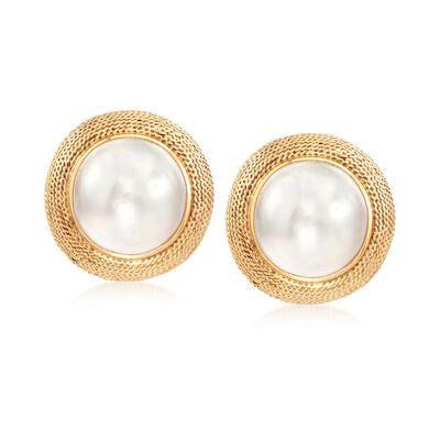 C. 1980 Vintage 20mm Mabe Pearl Earrings in 14kt Yellow Gold, , default