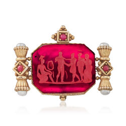 C. 1980 Vintage Red Glass Intaglio Pin Pendant With 1.00 ct. t.w. Rubies and Cultured Pearls in 14kt Gold , , default