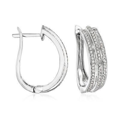 .50 ct. t.w. Diamond Multi-Row Hoop Earrings in Sterling Silver