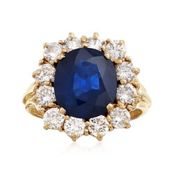 4.10 Carat Sapphire and 1.70 ct. t.w. Diamond Ring in 14kt Yellow Gold, , default