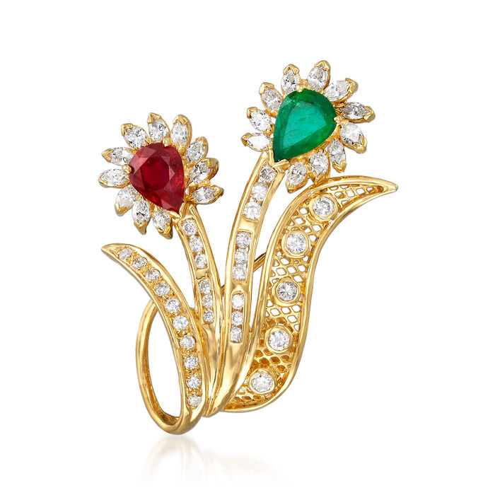 C. 1980 Vintage 1.30 Carat Ruby, 1.03 Emerald and 1.85 ct. t.w. Diamond Ribbon Pin/Pendant in 18kt Yellow Gold, , default