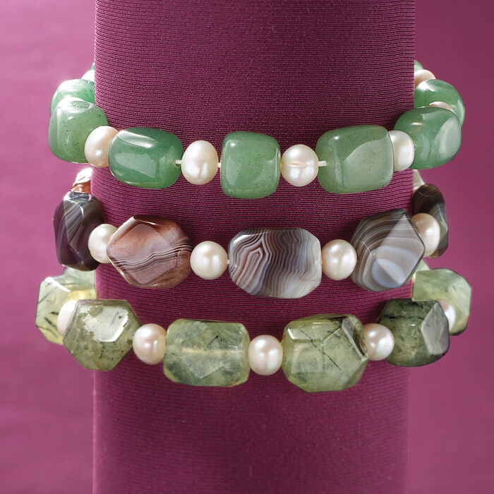 Multi-Stone and 6-6.5mm Cultured Pearl Jewelry Set: Three Stretch Bracelets