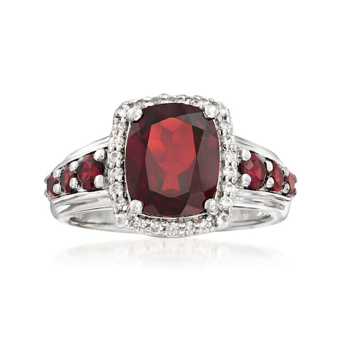 3.70 ct. t.w. Garnet and .30 ct. t.w. White Zircon Ring in Sterling Silver