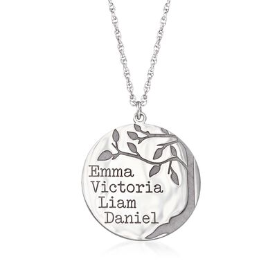 Sterling Silver Family Tree Circle Pendant Name Necklace
