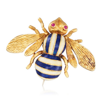 C. 1960 Vintage Yellow and Blue Enamel Bee Pin in 18kt Yellow Gold