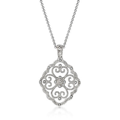 .20 ct. t.w. Diamond Openwork Pendant Necklace in Sterling Silver