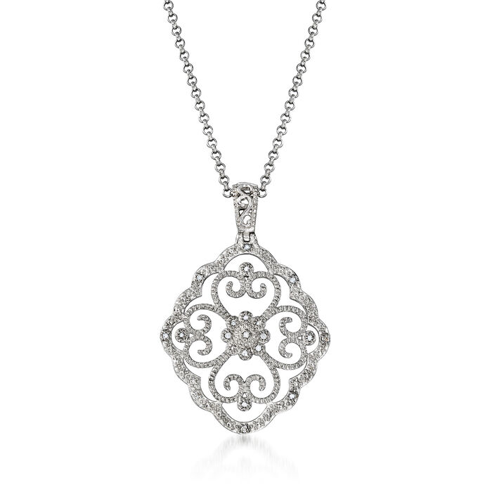 """.20 ct. t.w. Diamond Openwork Pendant Necklace in Sterling Silver. 18"""""""