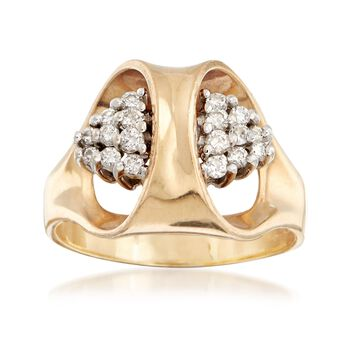 C. 1970 Vintage .35 ct. t.w. Diamond Cluster Ring in 14kt Yellow Gold. Size 9, , default