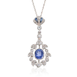 "C. 2000 Vintage .75 ct. t.w. Sapphire and .25 ct. t.w. Diamond Pendant Necklace in 14kt and 18kt White Gold. 16"", , default"
