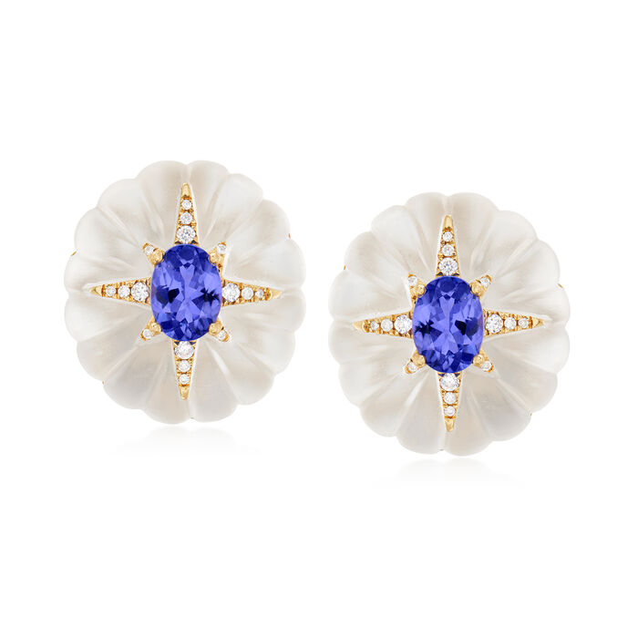 40.00 ct. t.w. Rock Crystal, 2.40 ct. t.w. Tanzanite and .20 ct. t.w. Diamond Flower Earrings in 14kt Yellow Gold