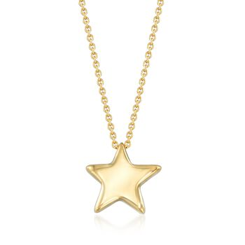 "Italian 18kt Gold Over Sterling Silver Puffed Star Drop Necklace. 18"", , default"