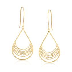14kt Yellow Gold Bead Chain and Open Teardrop Earrings, , default