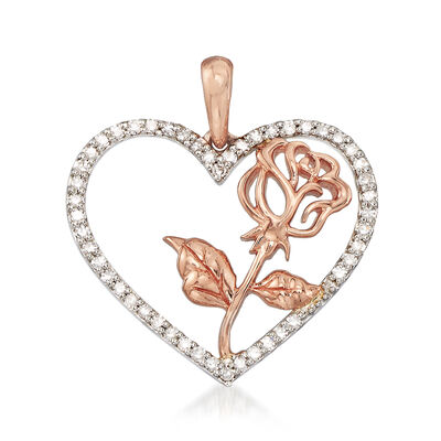 .20 ct. t.w. Diamond and Rose Heart Pendant in 14kt Two-Tone Gold, , default