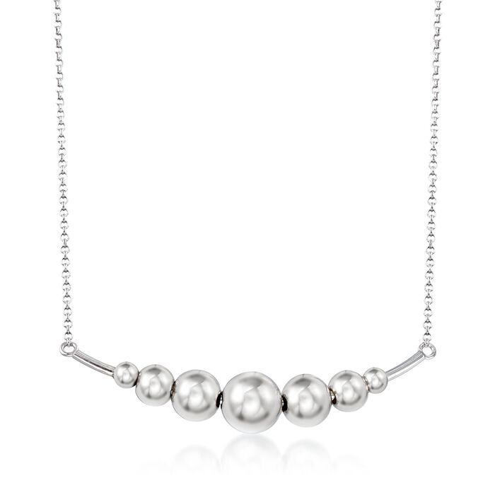 Italian Sterling Silver Graduated Ball Bar Necklace