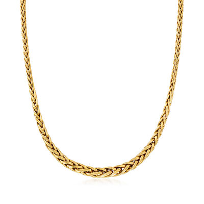 C. 1990 Vintage 14kt Yellow Gold Graduated Wheat Chain Necklace, , default