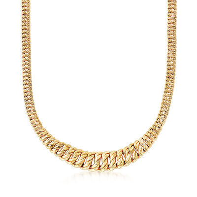 Italian 18kt Yellow Gold Graduated Double Link Necklace, , default