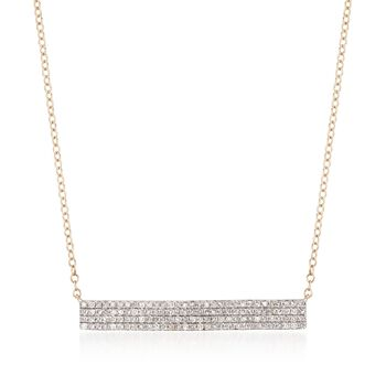 """.50 ct. t.w. Diamond Bar Necklace in 14kt Yellow Gold. 16"""", , default"""