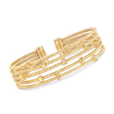 Italian .11 ct. t.w. CZ Open-Space Cuff Bracelet , , default