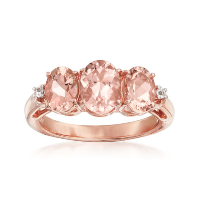 2.60 ct. t.w. Morganite Ring with White Topaz Accents in 18kt Rose Gold Over Sterling
