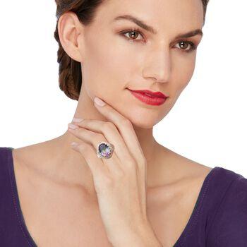 8.75 Carat Mystic Quartz Ring in Sterling Silver and 14kt Gold, , default